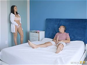 mind-blowing black-haired Kendra Spade riding on top