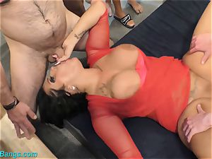 super-fucking-hot group sex with huge-chested Ashley cum star