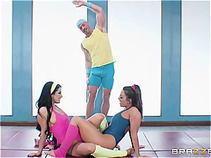 Johnny, Abi and Kat have a post-workout 3 way
