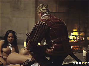 Alluring Anissa Kate and Jasmine Jae comply the king's will and trunk